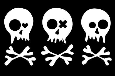 Set of skulls isolated on black background Each element is isolated on a separate layer  Vector