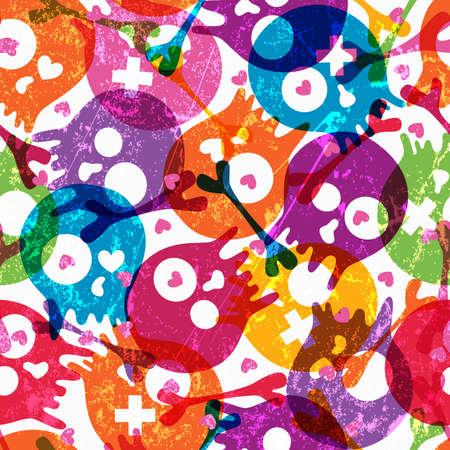 calaveras: Patr�n multicolor transparente con calaveras y corazones en la ilustraci�n de fondo blanco Contiene efectos de transparencia Vectores