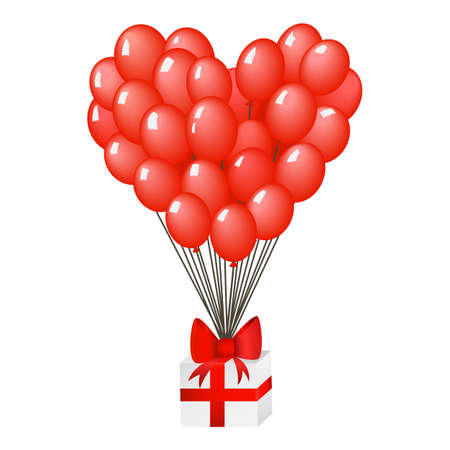 giftbox: Gift box with red ribbon and heart shaped balloons illustration  Illustration
