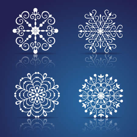 crystal snowflake: Decorative Snowflakes set for Christmas design Illustration