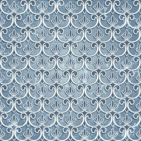 Blue seamless wallpaper in vintage style Vector