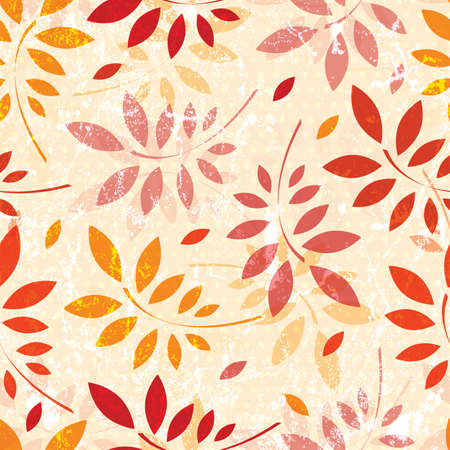 Seamless grunge pattern of colored autumn leaves  EPS 10 vector illustration