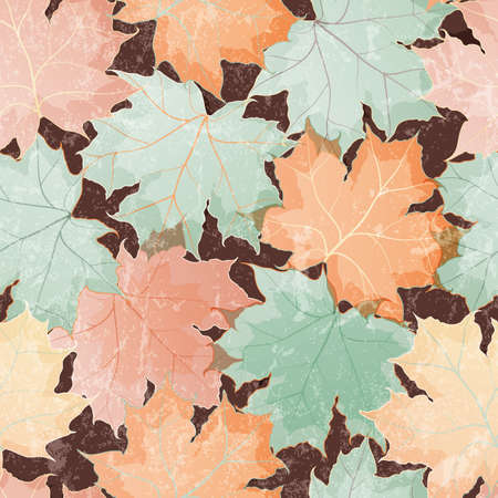Seamless grunge pattern of colored maple leaves  EPS 10 vector illustration Vector
