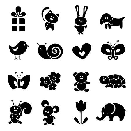 cat silhouette: Baby icon set