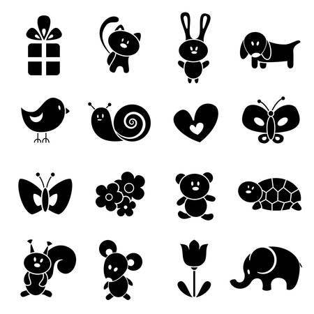 silueta de gato: Bebé conjunto de iconos Vectores