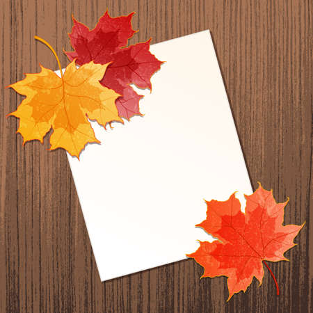 Maple leaves with paper sheet on wooden background texture  Contains transparency effects  Vector