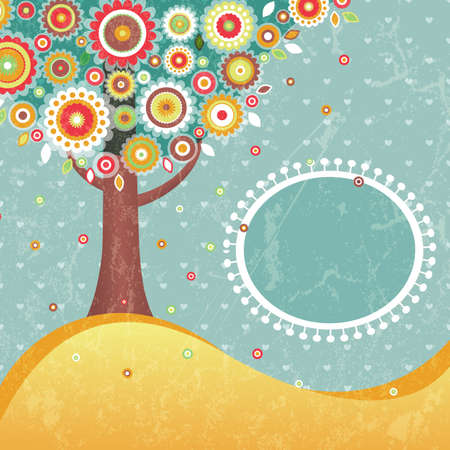 Abstract retro tree with place for text Contains transparency effects  Vector