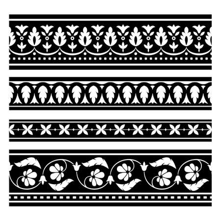 Set of seamless  vector borders for your design  Elements can also be used as Illustrator brushes  EPS 8 vector illustration  Vector