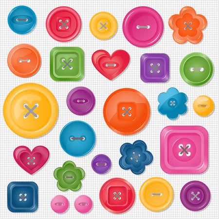sew: Set van gekleurde knoppen voor uw ontwerp illustratie Elk element is geïsoleerd op een aparte laag Stock Illustratie