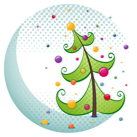 Stylized Christmas tree with colorful balls  Vector