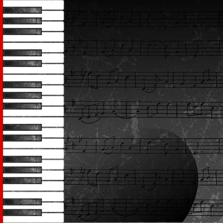 Abstract background with piano keys with hand drawn stave   Contains opacity mask  Vector