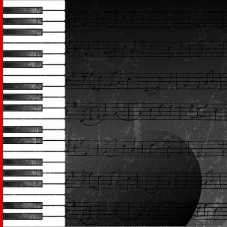 klavier: Abstrakter Hintergrund mit Klaviertasten mit Hand gezeichneten Stabkirche Enthält Deckkraftmaske Illustration