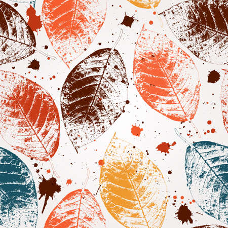 autumn: Seamless pattern with colored autumn leaves and blots