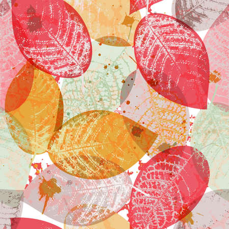 Seamless pattern with colored leaves and blots in grunge style
