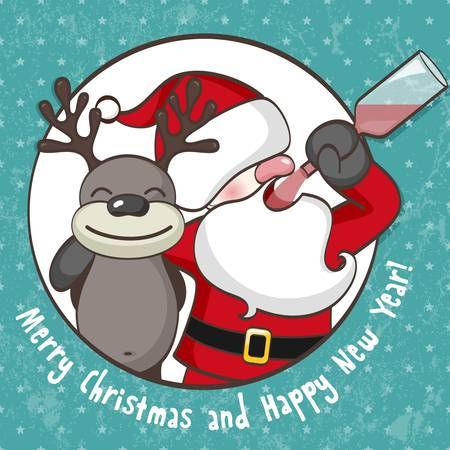 Santa Claus with reindeer Stock Vector - 15175212