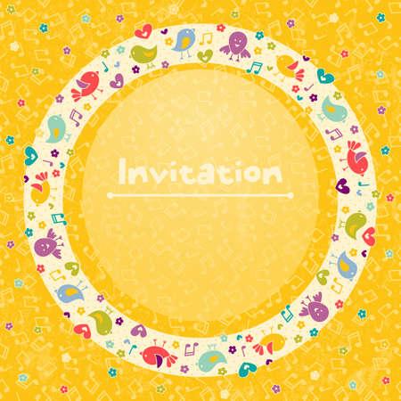 music design: Tarjeta de invitaci�n para los partidos de los ni�os s, cumplea�os y otros eventos Vectores
