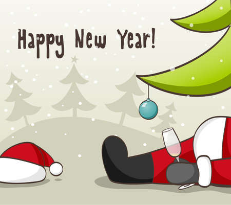 Drunk Santa Claus  illustration for Christmas design  Vector