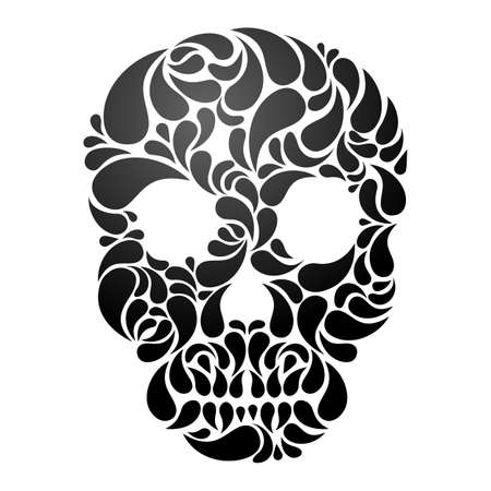 Black Skull isolated on white background   Vector