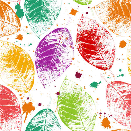 Seamless pattern with colored autumn leaves and blots Vettoriali