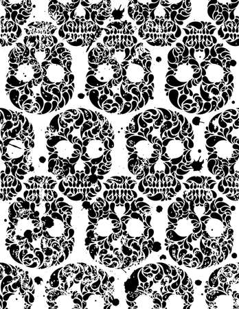 eps 8: Black and white seamless pattern with skulls and blots in grunge style  EPS 8 vector illustration
