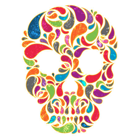 Colorful  vector skull with grunge effect  EPS 10 vector illustration