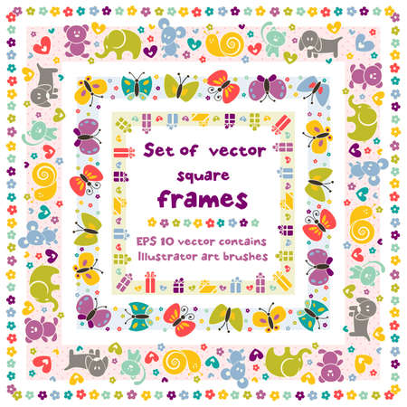 Cute square frames with baby icons for your design  vector contains Illustrator art brush for your design Vettoriali