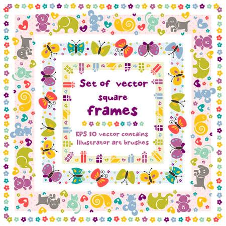 caracol: Lindo marcos cuadrados con iconos del bebé para su diseño vectorial Illustrator contiene cepillo del arte para su diseño