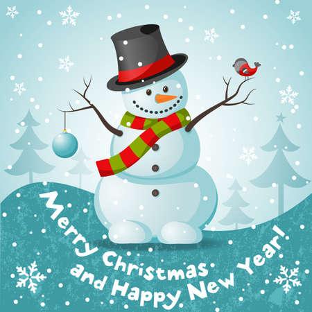 snow man: Vector snowman vector illustration for Christmas design