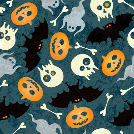 Halloween seamless pattern with pumkins, bats and skulls Stock Vector - 15689378