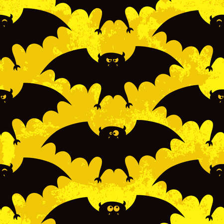 Halloween seamless pattern with funny bats  photo