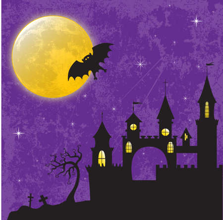 horrific: Gothic castle in the moonlight illustration for Halloween design