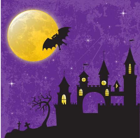 transylvania: Gothic castle in the moonlight illustration for Halloween design