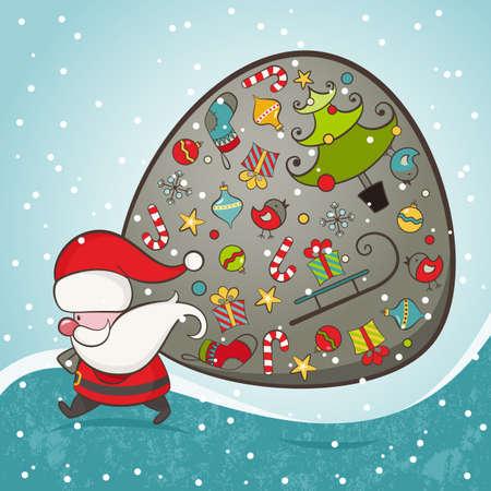 father christmas: Santa Claus and bag with gifts  Christmas Card