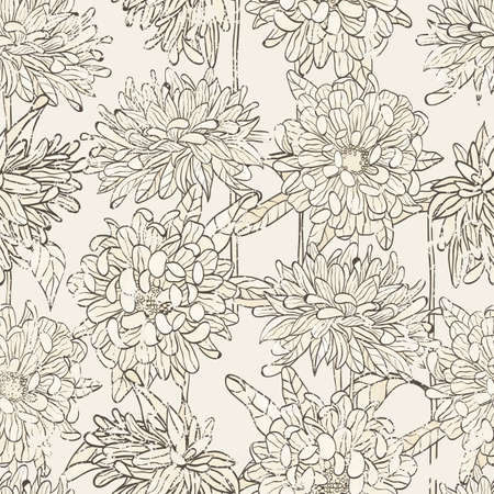 Seamless floral pattern with hand drawn chrysanthemum Vector