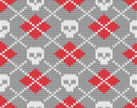 Naadloos gebreide patroon met schedels illustratie