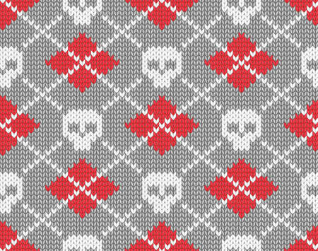 Seamless knitted pattern with skulls illustration  Vector