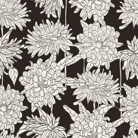 Seamless floral pattern with hand drawn chrysanthemum on black background  illustration  Illustration