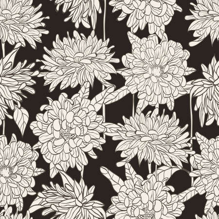 Seamless floral pattern with hand drawn chrysanthemum on black background  illustration  Vector