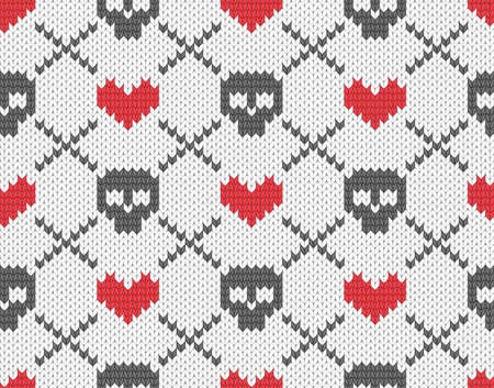 Seamless knitted pattern with skulls and hearts Vector
