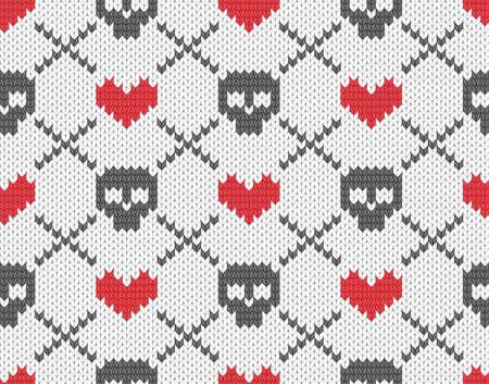 maglioni: Seamless pattern maglia con teschi e cuori Vettoriali