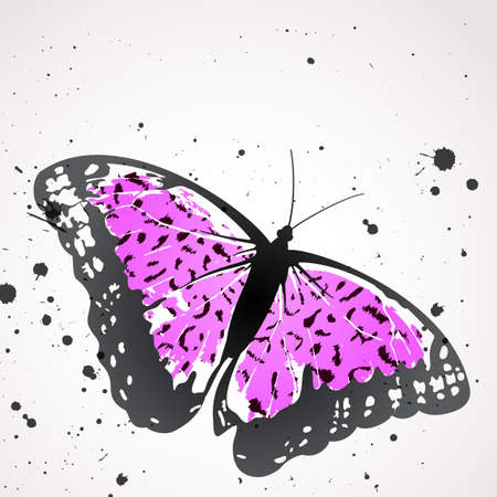 magenta decor: Vector  butterfly with pink leopard wings Contains clipping masks  Illustration