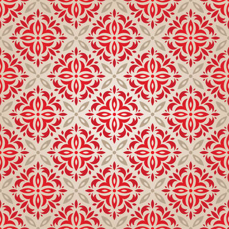 wrapping paper: Red vintage seamless wallpaper vector illustration