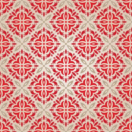 tissue paper: Red vintage seamless wallpaper vector illustration