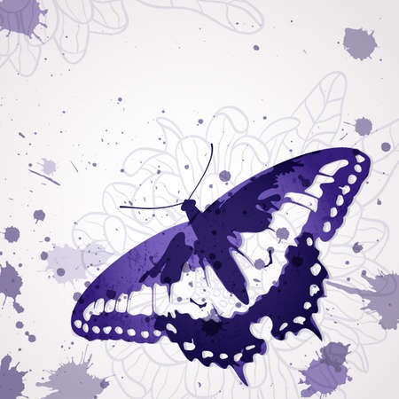 background with ink butterfly and space for text.  Illustration