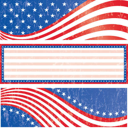 patriotic border: American flag banners set grunge style  Grunge effect can be removed   Illustration