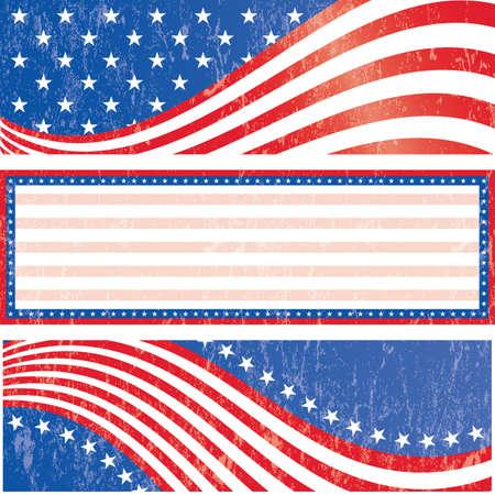 patriotic border: Banderas de la bandera americana establecer el estilo grunge efecto grunge puede ser removido