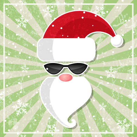 Santa in sunglasses  Christmas card in grunge style  Stock Vector - 16761166
