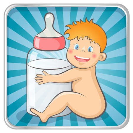 image date: Baby with a baby bottle   Illustration