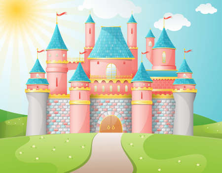 fairytale background: FairyTale castle illustration Illustration
