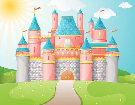 cartoon princess: FairyTale castle illustration Illustration